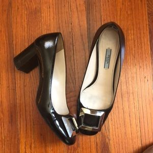 Prada black patent silver buckle mid heels sz 40